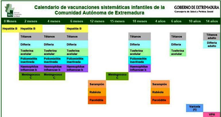 Calendario De Vacunas Infantil.Calendario De Vacunas De Extremadura 2013