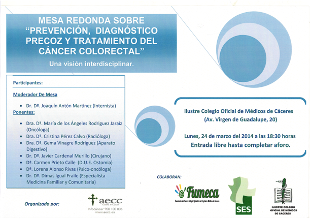 cartel charla cancer colorectal